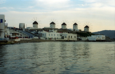 Windmills overlooking Mykonos harbor